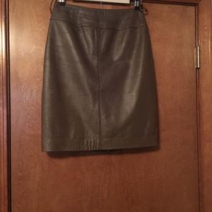 Carlisle Taupe Genuine Leather Skirt